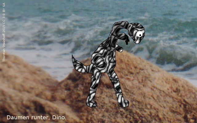 Ein trauriger Dino senkt den Daumen gegen sich selbst