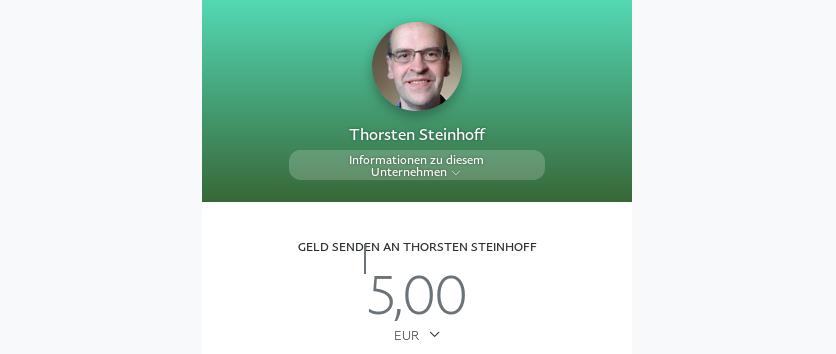 Screenshot Paypal.me für Lautwert.de mit Beispielsumme