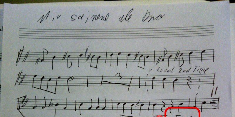 Auszug aus einem handschriftlichen Notensatz
