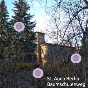 St. Anna in Baumschulenweg, von Viren umzingelt (Montage, Viren sind public domain)